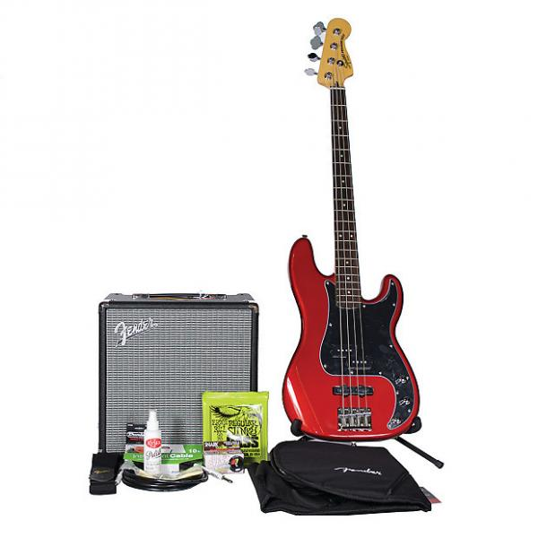 Custom Squier Vintage Modified Precision PJ Bass 4 BadAxe Bundle Candle Apple Red w/Rumble 25 Amp #1 image