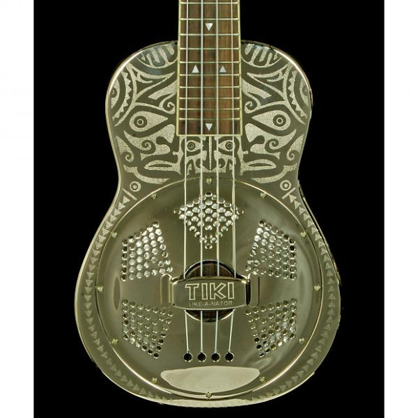 Custom New! Luna Guitars Tiki Resonator Concert Ukulele - Chrome #1 image