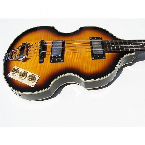Custom Johnson JJ-220 Beatles Viola Bass Budget Beatles Bass Flame Maple #1 image