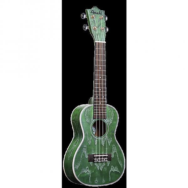 Custom Amahi C-24 Quilted Ash Concert Ukulele Green #1 image