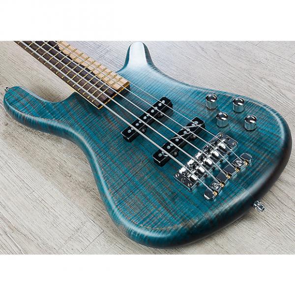 Custom Warwick Custom Shop Limited Edition Streamer LX 5-String Bass Guitar + Case - Bleached Blue Oil #1 image