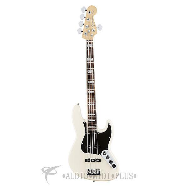 Custom Fender American Elite Jazz Rosewood Fingerboard Electric Bass Guitar Olympic White - 0197100705 #1 image