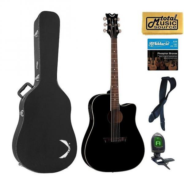 Custom Dean Guitars AX DCE CBK HSBKPACK  AXS Dreadnought Cutaway Acoustic-Electric Guitar, Classic Black Case Bundle #1 image