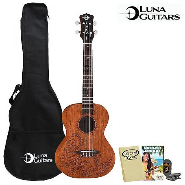 Custom Luna Guitars Tattoo Tenor (UKE-TT-MAH) Ukulele Kit - Includes: Gig Bag, Instruction Booklet, Cloth & Tuner #1 image