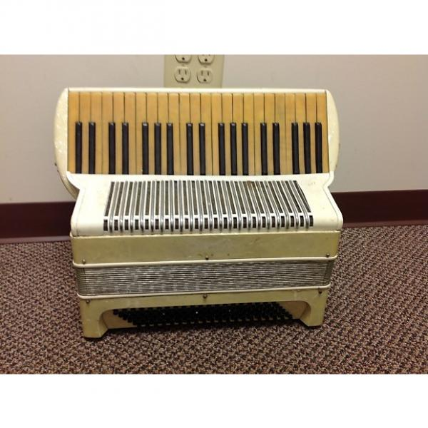 Custom Vintage Accordion Student Model, Serial #22006 Aged White For Repair #1 image