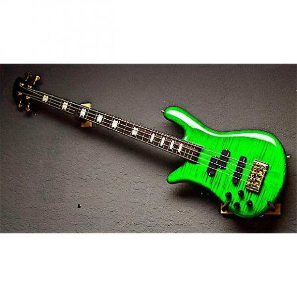 Custom Spector Left Handed Euro 4LX 2016 Trans Green Flame Top Lefty Bass Guitar #1 image