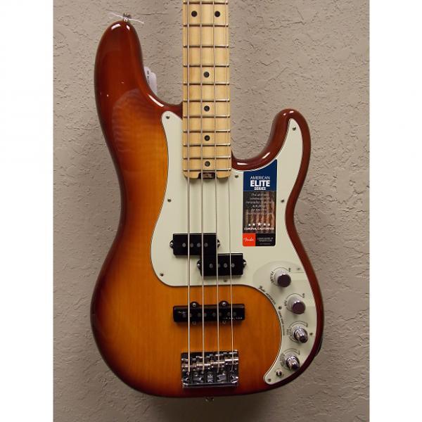 Custom Fender  American Elite Precision 4 String Bass 2016 Tobacco Sunburst w/ Elite Hardcase #1 image