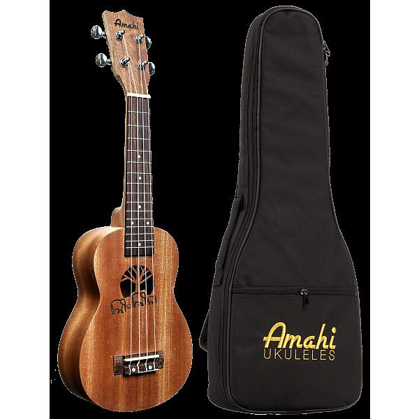 Custom Amahi UK130 Elephant Etched Soprano Ukulele & Bag #1 image