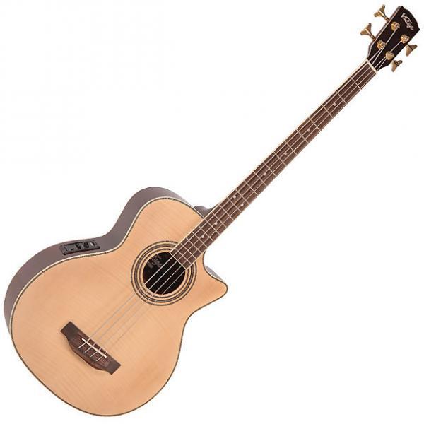 Custom Vintage vcb430n Natural Flame Electro Acoustic Bass #1 image