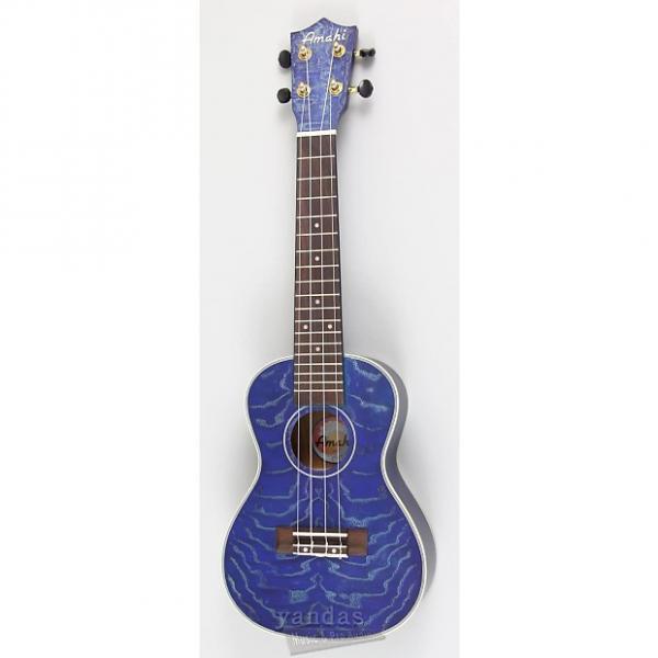 Custom Amahi C-23 Concert Ukulele | Quilted Ash Blue #1 image