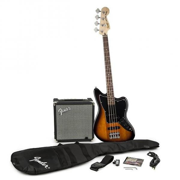 Custom Squier Stop Dreaming Start Playing Jaguar Bass Special with Rumble 15 Pack - Brown Sunburst #1 image