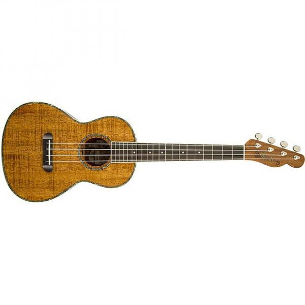 Custom Fender Ukulele Nohea All Koa Tenor Uke Telecaster Headstock Natural + Gig Bag #1 image