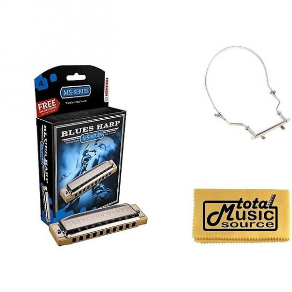 Custom HOHNER Blues Harp MS Harmonica Key A, Made in Germany, Case & Harmonica Holder, 532BL-A PACK #1 image