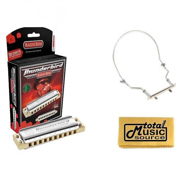Custom HOHNER Marine Band THUNDERBIRD Harmonica, Key LOW C, Germany, Case & Harmonica Holder, M2011L-C PACK #1 image