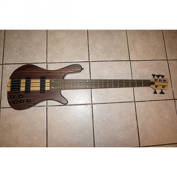 Custom Bass guitar, 5 string,  Neck through body,  Zebra Wood #1 image