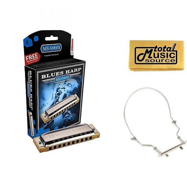 Custom HOHNER Blues Harp MS Harmonica Key E, Made in Germany, Case & Harmonica Holder, 532BL-E PACK #1 image