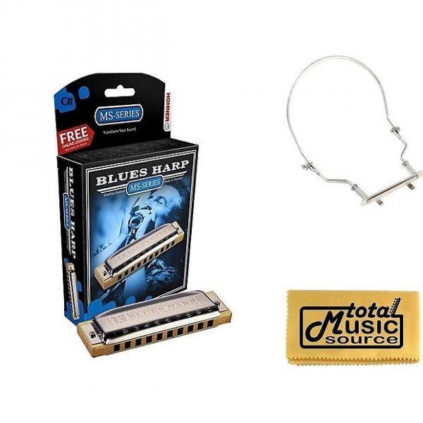 Custom HOHNER Blues Harp MS Harmonica Key C#, Made in Germany, Includes Case & Harmonica Holder, 532BL-C# PACK #1 image