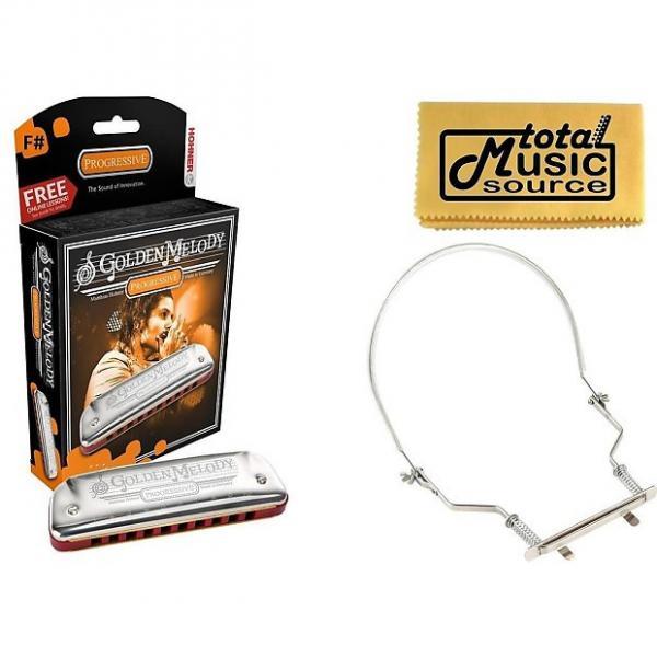 Custom Hohner Golden Melody Harmonica, Key of F#, Case & Harmonica Holder, 542BL-F# PACK #1 image