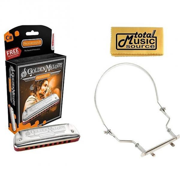Custom HOHNER Golden Melody Harmonica, Key C#, Made In Germany, Case & Harmonica Holder, 542BL-C# PACK #1 image