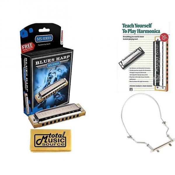 Custom HOHNER Blues Harp MS Harmonica Key F, Made in Germany, Case, Book, & Harmonica Holder, 532BL-F COMP #1 image