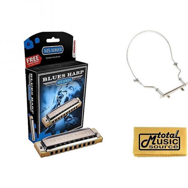 Custom HOHNER Blues Harp MS Harmonica Key B, Diatonic, Includes Case & Harmonica Holder, 532BL-B PACK #1 image