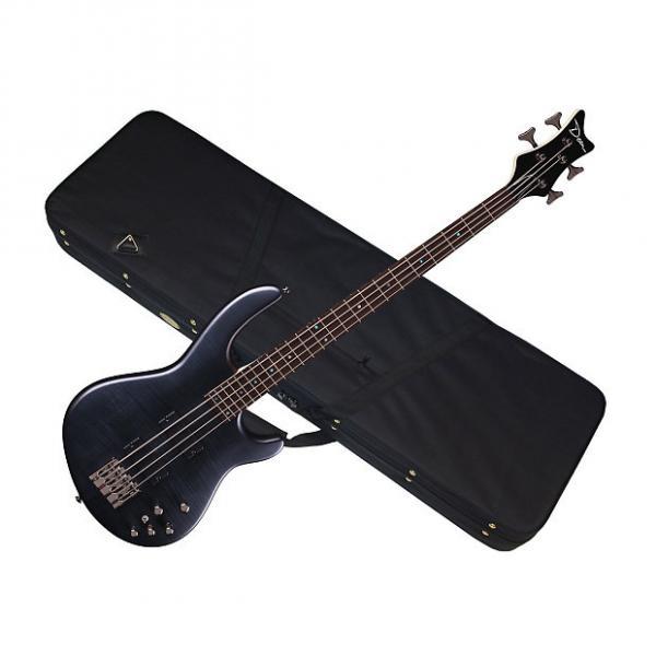 Custom DEAN Edge 4 Flame Maple 4-string BASS guitar NEW Trans Black Satin w/ LIGHT CASE #1 image