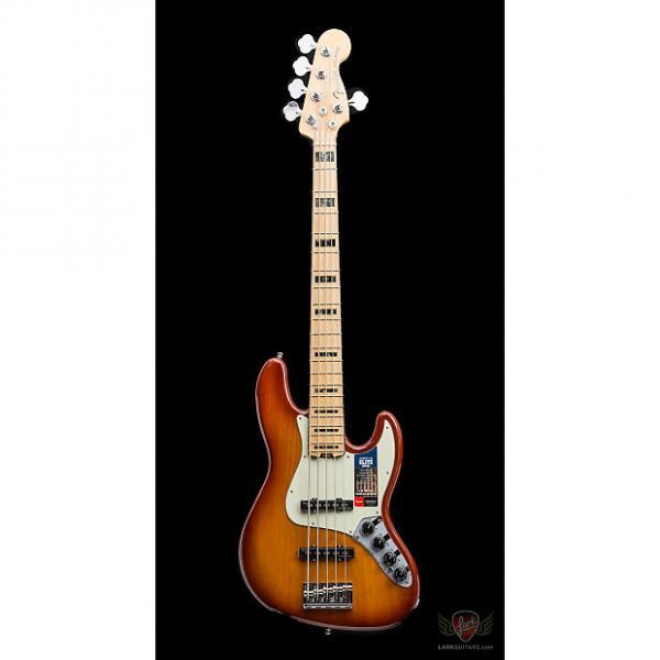 Custom Fender American Elite Jazz Bass V Ash MN - Tobacco Burst (812) #1 image