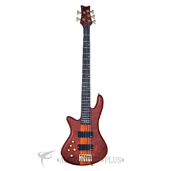 Custom Schecter Stiletto Studio-5 LH Rosewood Fretboard Electric Bass Honey Satin - 2780 - 839212002751 #1 image