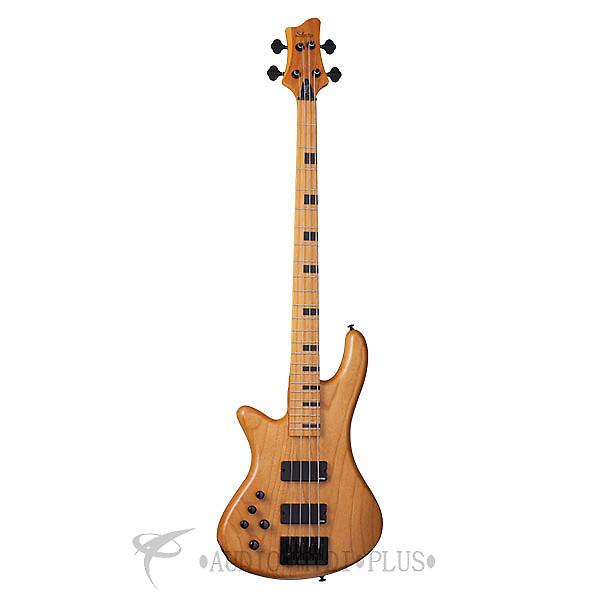 Custom Schecter Stiletto-4 Session LH Maple Fretboard Electric Bass Aged Natural Satin - 2854 - 81544708041 #1 image
