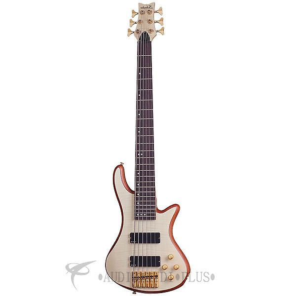 Custom Schecter Stiletto Custom-6 Left Handed Rosewood Electric Bass Natural Satin - 2544 - 839212008203 #1 image