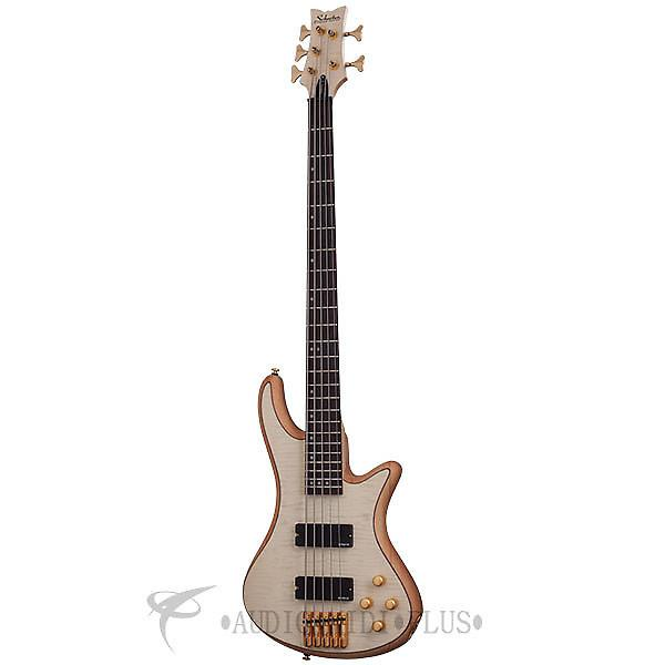 Custom Schecter Stiletto Custom-5 Left Handed Rosewood FB Bass Guitar Natural Satin - 2542 - 839212006001 #1 image