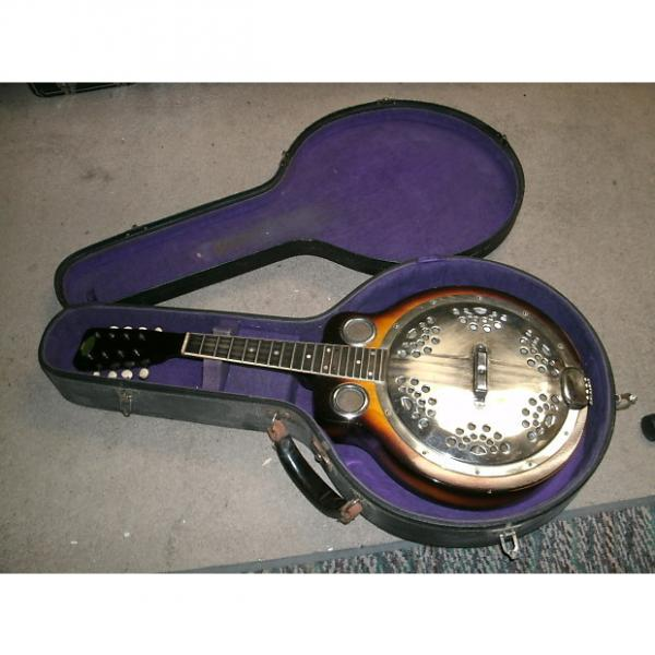 Custom 1930s Regal Made Resonator Mandolin with old purple lined non original hard case #1 image