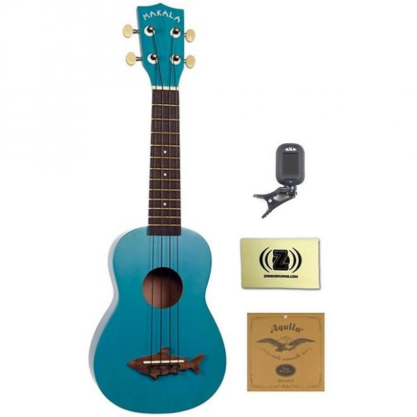 Custom Kala Makala Shark Series Soprano Ukulele (Mako Blue) Bundle with Clip-On Tuner, Strings and Cloth #1 image
