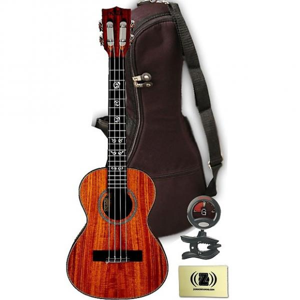 Custom Kala KA-ASAC-T Solid Acacia Tenor Ukulele with Zorro cleaning cloth, gig bag and tuner #1 image