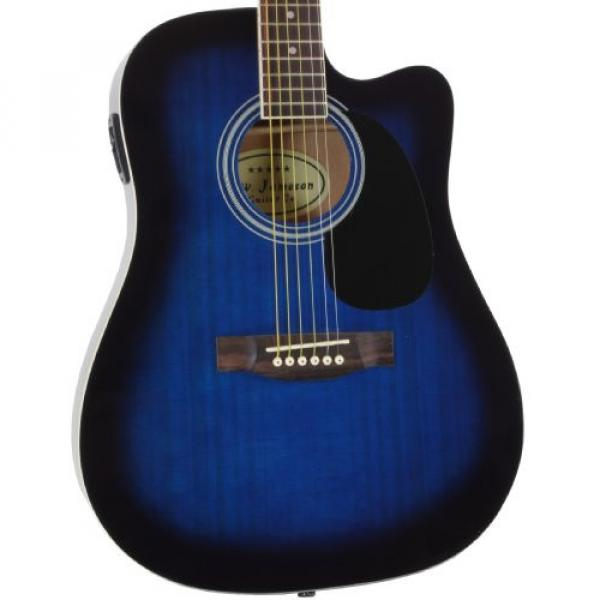 Blue Full Size Thinline Acoustic Electric Guitar with Free Gig Bag Case & Picks #1 image