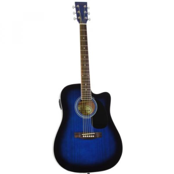 Blue Full Size Thinline Acoustic Electric Guitar with Free Gig Bag Case & Picks #2 image