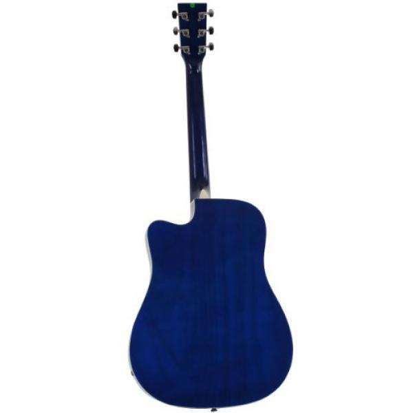 Blue Full Size Thinline Acoustic Electric Guitar with Free Gig Bag Case & Picks #3 image
