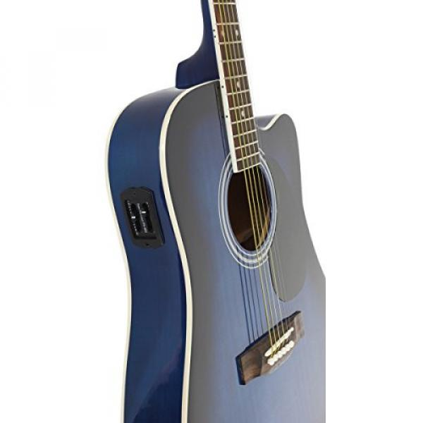Blue Full Size Thinline Acoustic Electric Guitar with Free Gig Bag Case & Picks #5 image