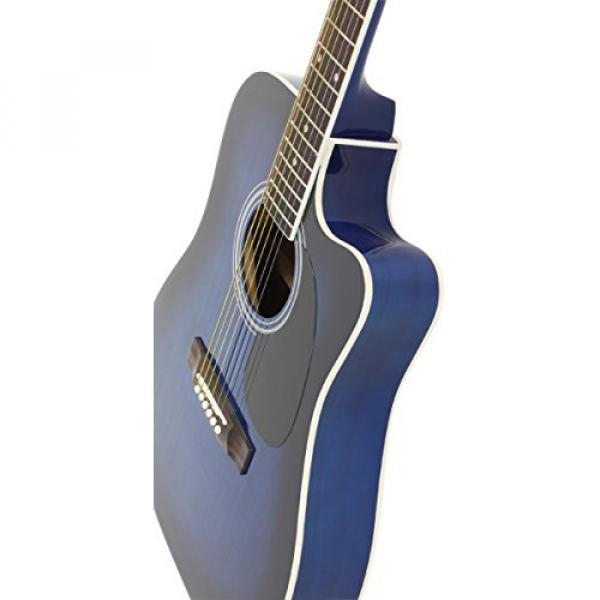 Blue Full Size Thinline Acoustic Electric Guitar with Free Gig Bag Case & Picks #6 image