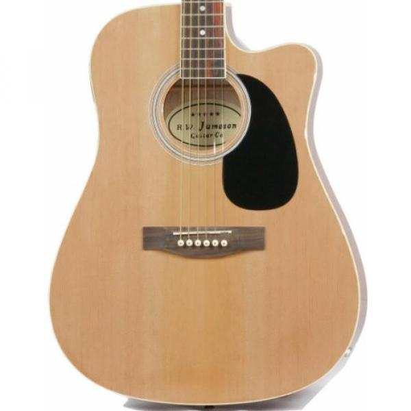 Full Size Thinline Acoustic Electric Guitar with Gig Bag Case & Picks - Natural Finish #1 image