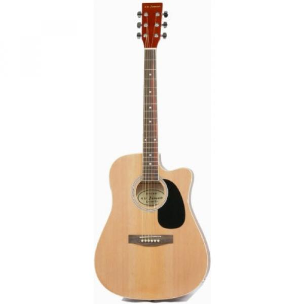 Full Size Thinline Acoustic Electric Guitar with Gig Bag Case & Picks - Natural Finish #2 image