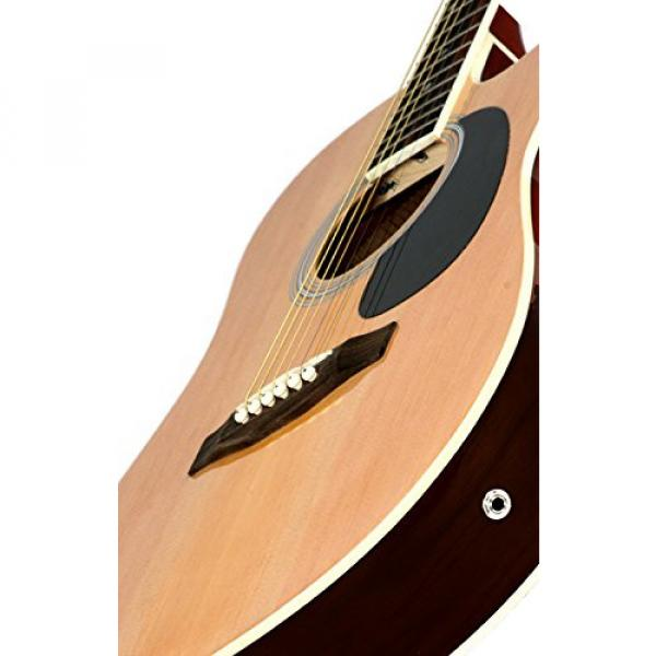 Full Size Thinline Acoustic Electric Guitar with Gig Bag Case & Picks - Natural Finish #4 image