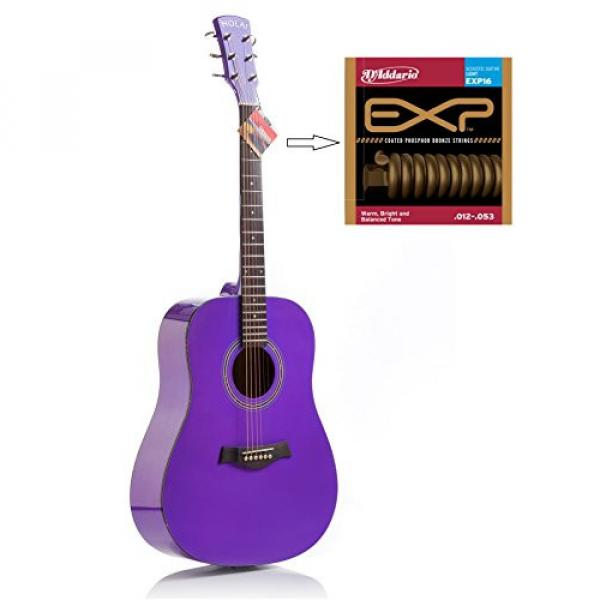 """Hola! martin acoustic strings HG-41PP martin guitar case (41"""" guitar strings martin Full martin d45 Size) martin guitar accessories Deluxe Dreadnought Acoustic Guitar, Purple #2 image"""