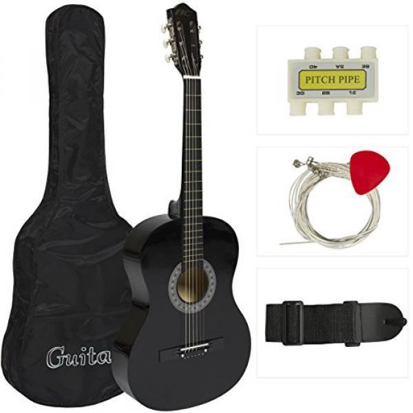 """38"""" Black Acoustic Guitar Starter Package (Guitar, Gig Bag, Strap, Pick) #1 image"""