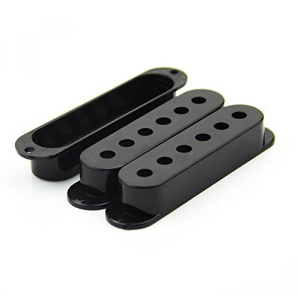SODIAL(R) Fender Stratocaster Pickup Covers 50 or 52 mm Pole to Pole Knobs Tips (Black) #5 image