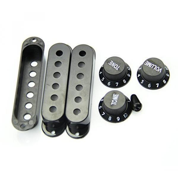 SODIAL(R) Fender Stratocaster Pickup Covers 50 or 52 mm Pole to Pole Knobs Tips (Black) #6 image