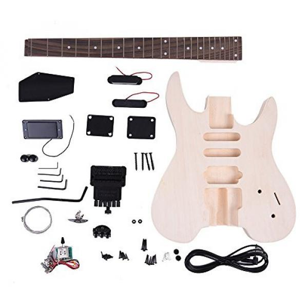 ammoon Unfinished DIY Electric Guitar Kit Basswood Body Rosewood Fingerboard Maple Neck Special Design Without Headstock #1 image