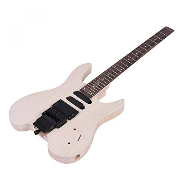 ammoon Unfinished DIY Electric Guitar Kit Basswood Body Rosewood Fingerboard Maple Neck Special Design Without Headstock #2 image