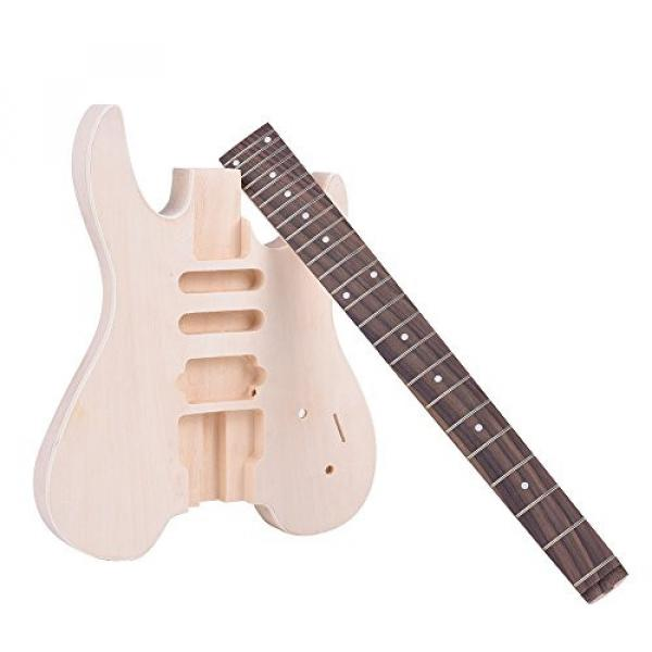 ammoon Unfinished DIY Electric Guitar Kit Basswood Body Rosewood Fingerboard Maple Neck Special Design Without Headstock #3 image