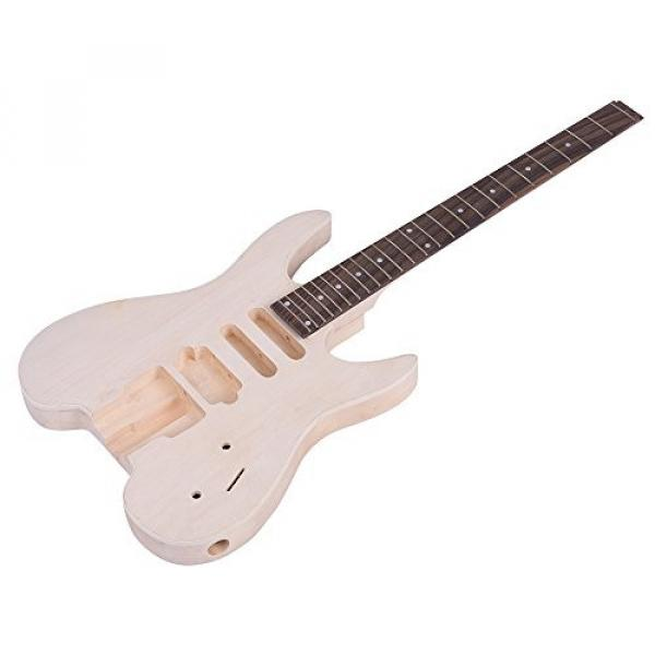 ammoon Unfinished DIY Electric Guitar Kit Basswood Body Rosewood Fingerboard Maple Neck Special Design Without Headstock #4 image